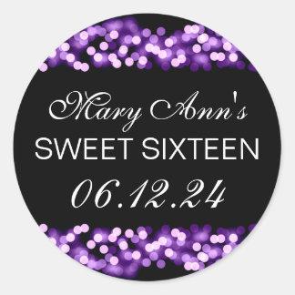 Elegant Sweet 16 Birthday Hollywood Glam Purple Classic Round Sticker