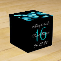 Elegant Sweet 16 Birthday Hollywood Glam Turquoise Favor Box