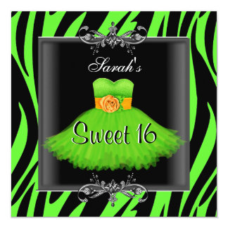 Elegant Sweet 16 Birthday Lime Zebra Black Dress Card