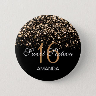 Elegant Sweet 16 Birthday Midnight Glam Gold Button