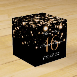 4866c54a Elegant Sweet 16 Birthday Midnight Glam Gold Favor Box