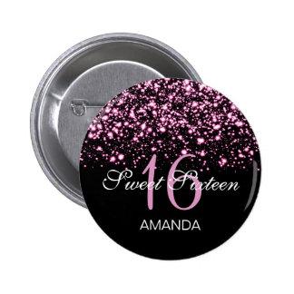 Elegant Sweet 16 Birthday Midnight Glam Pink Button
