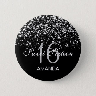 Elegant Sweet 16 Birthday Midnight Glam Silver Button