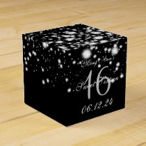 Elegant Sweet 16 Birthday Midnight Glam Silver Favor Box