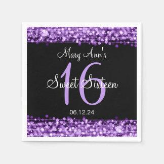 Elegant Sweet 16 Birthday Party Sparkles Purple Napkin