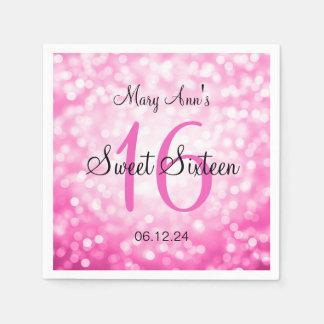 Elegant Sweet 16 Birthday Pink Glitter Lights Napkin