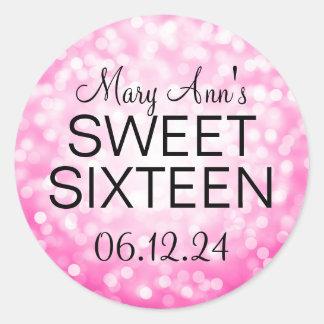 Elegant Sweet 16 Birthday Pink Glitter Lights Classic Round Sticker
