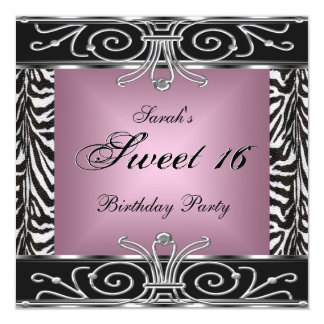 Elegant Sweet 16 Birthday Pink Zebra Black Silver Personalized Invites
