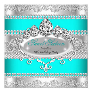 Elegant Sweet 16 Birthday Princess Teal Blue Tiara Card