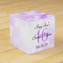 Elegant Sweet 16 Birthday Purple Glitter Lights Favor Box