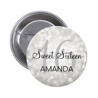 Elegant Sweet 16 Birthday Silver Glitter Lights Button