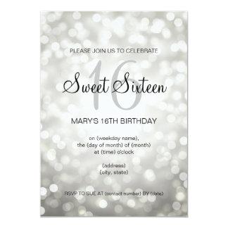 Elegant Sweet 16 Birthday Silver Glitter Lights Card