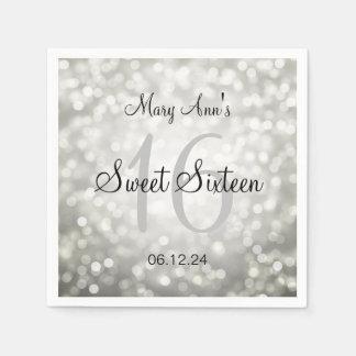 Elegant Sweet 16 Birthday Silver Glitter Lights Paper Napkin