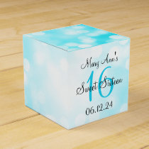 Elegant Sweet 16 Birthday Turquoise Glitter Lights Favor Box