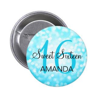 Elegant Sweet 16 Birthday Turquoise Glitter Lights Pinback Button