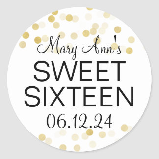 Elegant Sweet 16 Faux Gold Foil Glitter Lights Classic Round Sticker