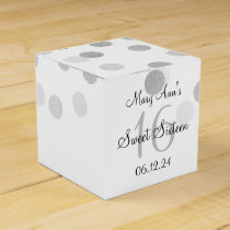 Elegant Sweet 16 Faux Silver Foil Glitter Lights Favor Box