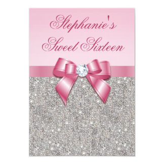 Elegant Sweet 16 Faux Silver Sequins Pink Bow 5x7 Paper Invitation Card