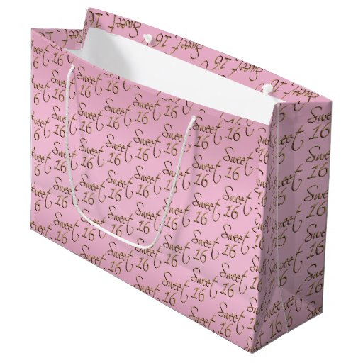 Elegant Sweet 16 in Pink and Gold Large Gift Bag