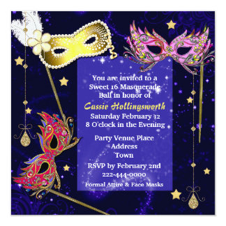 "Elegant Sweet 16 Masquerade Ball Invitation 5.25"" Square Invitation Card"