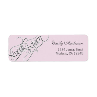 Elegant Sweet 16 Return Address Label in Pale Pink