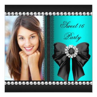 Elegant Sweet 16 Sixteen Teal Blue Diamonds Lace 5.25x5.25 Square Paper Invitation Card