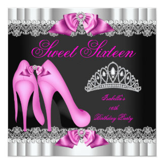 Elegant Sweet 16 Sweet Sixteen Party Hot Pink 2 Card