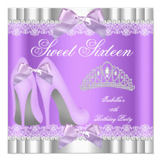 Elegant Sweet 16 Sweet Sixteen Party Lavender Lace Card