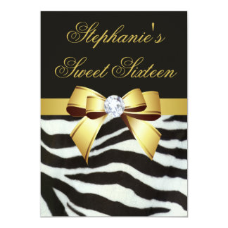 Elegant Sweet 16 Zebra Stripes Gold Faux Bow Card
