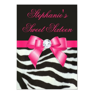 Elegant Sweet 16 Zebra Stripes Hot Pink Bow Card