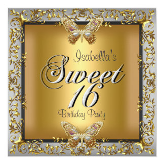 Elegant Sweet Sixteen 16 Gold Butterfly Personalized Announcement
