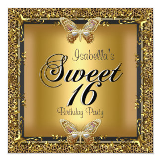 Elegant Sweet Sixteen 16 Leopard Gold Butterfly Personalized Announcements