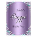 Elegant Sweet Sixteen 16 Teal Blue Purple Custom Invite