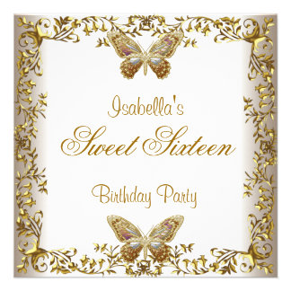 Elegant Sweet Sixteen 16 White Gold Butterfly Invitations