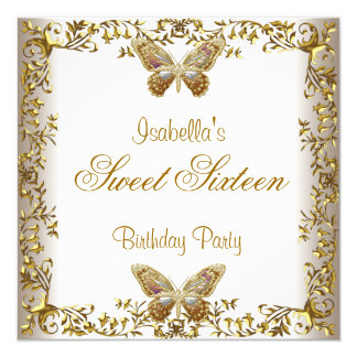 Elegant Sweet Sixteen 16 White Gold Butterfly Invitation