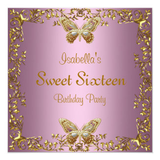Elegant Sweet Sixteen Birthday Pink Gold Butterfly Card