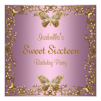 Elegant Sweet Sixteen Birthday Pink Gold Butterfly Custom Invites