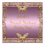 Elegant Sweet Sixteen Birthday Pink Gold Butterfly Custom Announcements