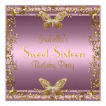 Elegant Sweet Sixteen Birthday Pink Gold Butterfly 5.25x5.25 Square Paper Invitation Card