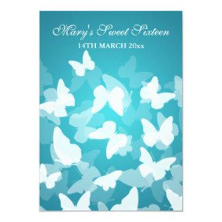 Elegant Sweet Sixteen Party Butterflies Blue Personalized Announcement