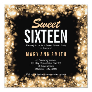 """Elegant Sweet Sixteen Party Gold Sparkling Lights 5.25"""" Square Invitation Card"""