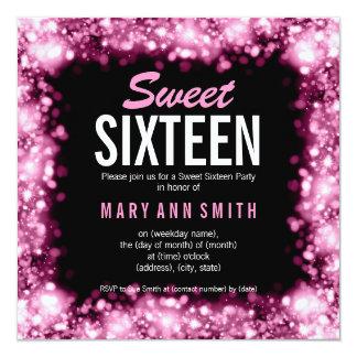 Elegant Sweet Sixteen Party Sparkling Lights Pink Card