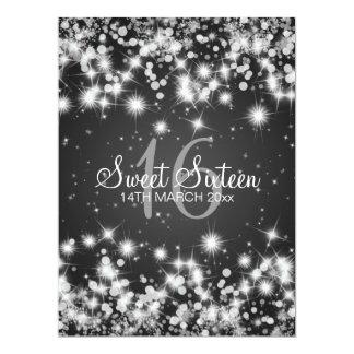 Elegant Sweet Sixteen Party Winter Sparkle Black Invite