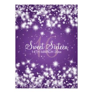 Elegant Sweet Sixteen Party Winter Sparkle Purple Custom Invites