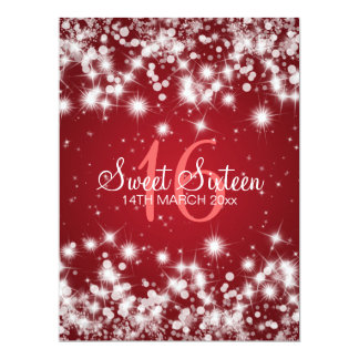 Elegant Sweet Sixteen Party Winter Sparkle Red Card