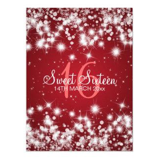 Elegant Sweet Sixteen Party Winter Sparkle Red Custom Invitations