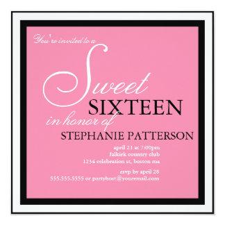 "Elegant Sweet Sixteen Pink Invitation 5.25"" Square Invitation Card"