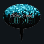"""Elegant Sweet Sixteen Sparkling Lights Blue Cake Topper<br><div class=""""desc"""">Matching products available! Elegant Sweet Sixteen Sparkling Lights Blue designer gift template.  Fully customizable! Easy to use and easy to personalize. Order Today!</div>"""