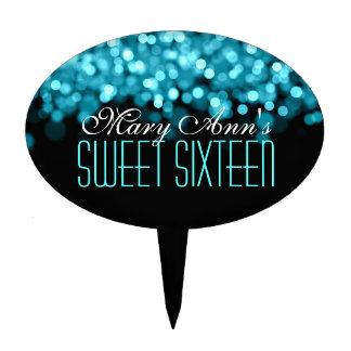 Elegant Sweet Sixteen Sparkling Lights Blue Cake Topper