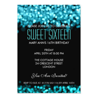 Elegant Sweet Sixteen Sparkling Lights Blue Card